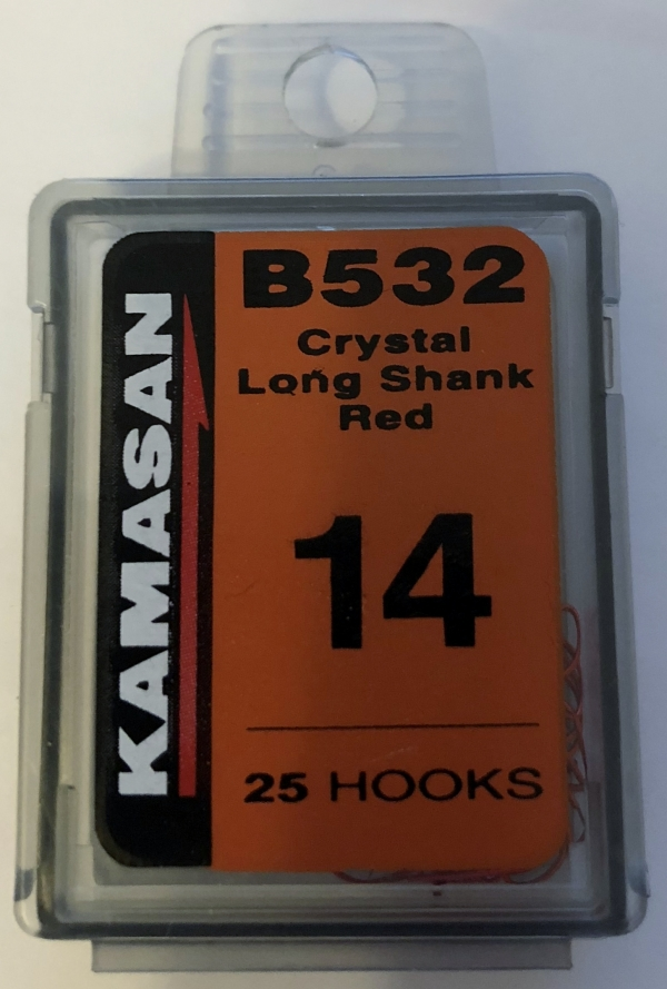 b532 crystal long shank red size 14 (25 hooks)