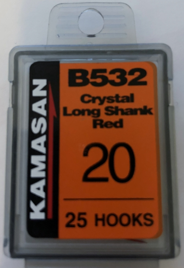 b532 crystal long shank red size 20 (25 hooks)