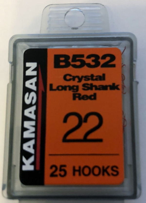 b532 crystal long shank red size 22 (25 hooks)